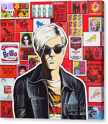 Canvas Print featuring the mixed media Warhol by Joseph Sonday