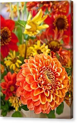 Warm Colored Flower Bouquet With Round Dahlia Canvas Print by Valerie Garner