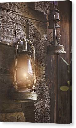 Log Cabin Canvas Print - Warm Glow by Heather Applegate