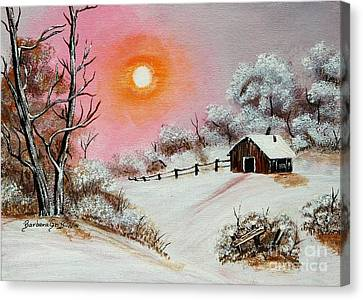 Warm Winter Day After Bob Ross Canvas Print by Barbara Griffin