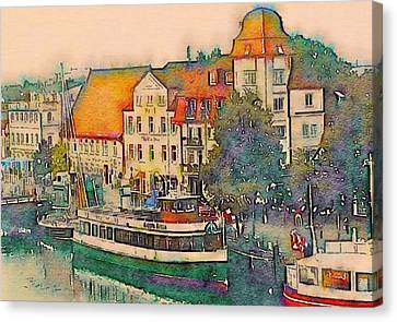 Canvas Print featuring the photograph Warnemunde In Watercolor by Susan Maxwell Schmidt