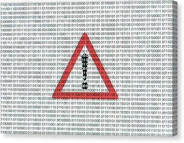 Warning Sign And Binary Code Canvas Print by Daniel Sambraus