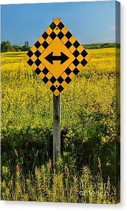 Warning - Yellow On Both Sides Canvas Print by Henry Kowalski
