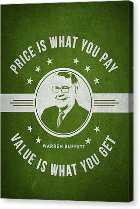 Warren Buffet - Green Canvas Print by Aged Pixel