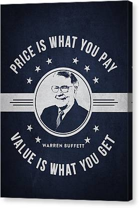 Warren Buffet - Navy Blue Canvas Print