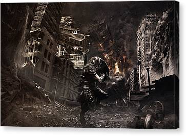Warrior At The Time Of The Apocalypse Canvas Print by Eleonora Krstulovic