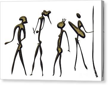 Warriors - Primitive Art Canvas Print by Michal Boubin