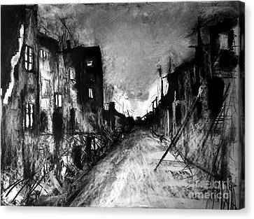 Canvas Print featuring the drawing Warsaw Ghetto 1945 by Maja Sokolowska