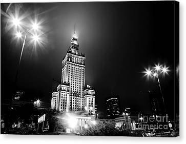 Warsaw Poland Downtown Skyline At Night Canvas Print
