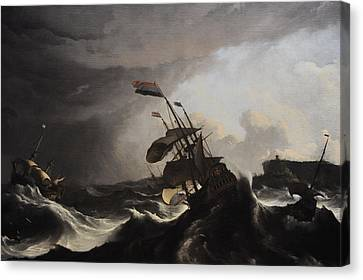 Warships In A Heavy Storm Canvas Print by Ludolf Bakhuysen