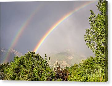 Canvas Print featuring the photograph Wasatch Rainbow by Sue Smith