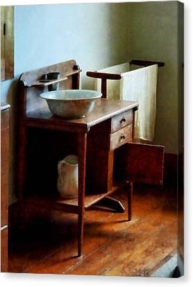 Wash Canvas Print - Wash Basin And Towel by Susan Savad
