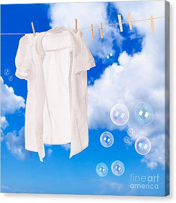 White Shirt Canvas Print - Wash Day Bubbles by Amanda Elwell