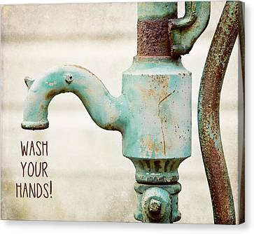 Wash Your Hands Child's Bathroom Decor Canvas Print by Lisa Russo