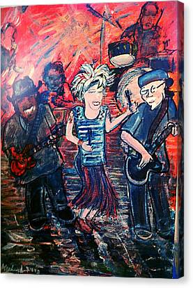 Washboard Jo Guitar Shorty And Good Ol Steve Canvas Print by Richard  Hubal