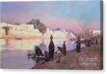 Washerwomen On The Banks Of The Nile Canvas Print by Eugene Alexis Girardet