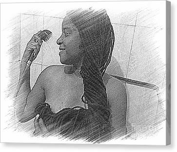 Washing All That Hair Canvas Print by Fania Simon