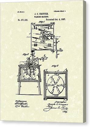 Washing Machine 1887 Patent Art Canvas Print