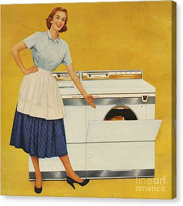 Washing Machines 1950s Usa Housewives Canvas Print by The Advertising Archives