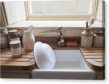 Wooden Bowl Canvas Print - Washing Up Sink by Tom Gowanlock
