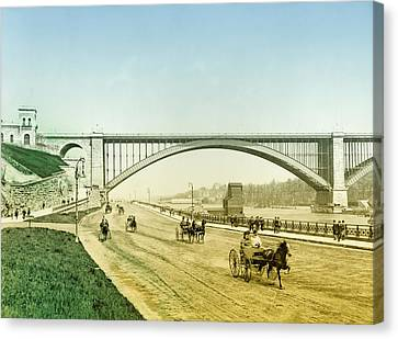 Washington Bridge And The Harlem River Speedway New York Canvas Print by Bill Cannon