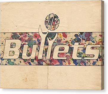 Washington Bullets Retro Poster Canvas Print by Florian Rodarte