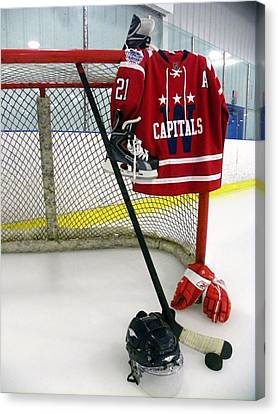 Washington Capitals Brooks Liach Winter Classic 2015 Jersey Canvas Print by Lisa Wooten