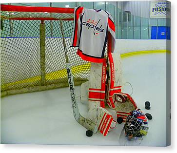 Gloves Canvas Print - Washington Capitals Hockey Away Goalie Jersey by Lisa Wooten