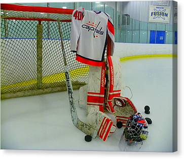 Washington Capitals Hockey Semyon Varlamov Away Jersey Canvas Print by Lisa Wooten