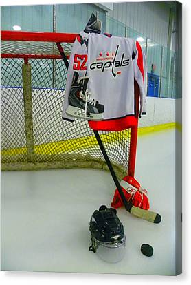 Washington Capitals Mike Green Away Hockey Jersey Canvas Print by Lisa Wooten