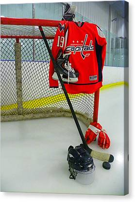 Washington Capitals Nicklas Backstrom Home Hockey Jersey Canvas Print by Lisa Wooten