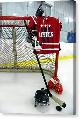 Washington Capitals Winter Classic 2015 Jersey Canvas Print by Lisa Wooten