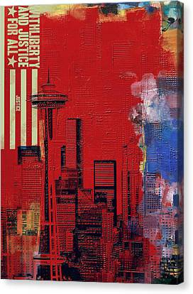Washington City Collage 3 Canvas Print by Corporate Art Task Force