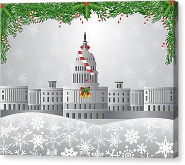 Washington Dc Capitol Christmas Scene Illustration Canvas Print