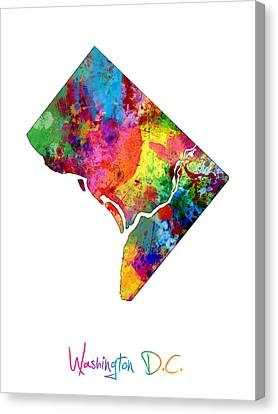 District Columbia Canvas Print - Washington Dc District Of Columbia Map by Michael Tompsett