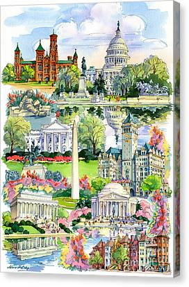 Washington Dc Painting Canvas Print by Maria Rabinky