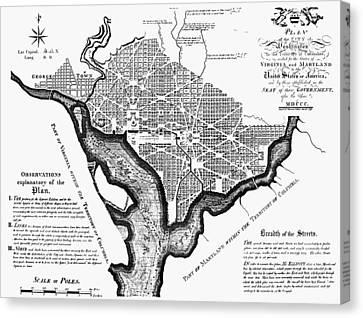 Washington, D.c. Plan, 1792 Canvas Print by Granger