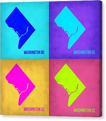 Washington Dc Pop Art Map 1 Canvas Print by Naxart Studio