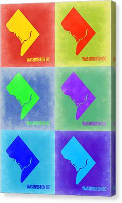 Washington Dc Pop Art Map 3 Canvas Print by Naxart Studio