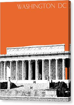 Washington Dc Skyline Lincoln Memorial - Coral Canvas Print