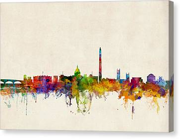 Silhouettes Canvas Print - Washington Dc Skyline by Michael Tompsett