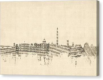 Washington Dc Skyline Sheet Music Cityscape Canvas Print by Michael Tompsett