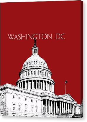 Washington Dc Skyline The Capital Building -  Dk Red Canvas Print