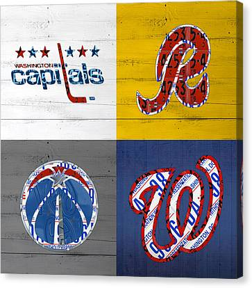 Washington Dc Sports Fan Recycled Vintage License Plate Art Capitals Redskins Wizards Nationals Canvas Print by Design Turnpike