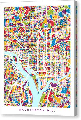 Washington Dc Street Map Canvas Print by Michael Tompsett