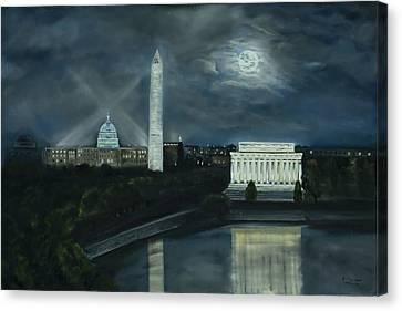 Washington Dc Under Moonlight Canvas Print by Brandon Hebb