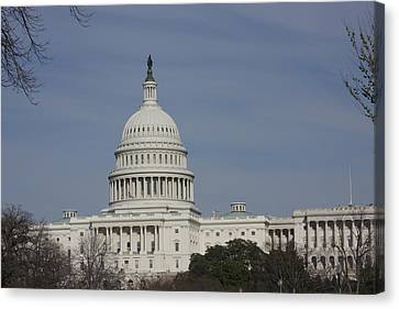 Reflection Canvas Print - Washington Dc - Us Capitol - 01136 by DC Photographer