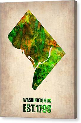Washington Dc Watercolor Map Canvas Print by Naxart Studio