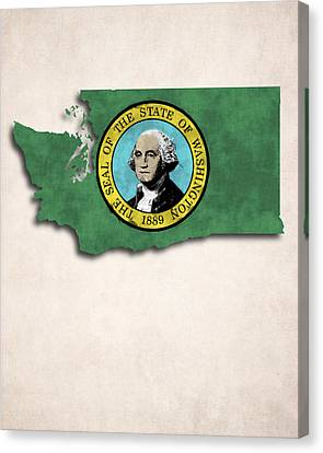 Washington Map Art With Flag Design Canvas Print by World Art Prints And Designs