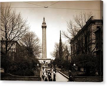 Washington Monument, Baltimore, Jackson, William Henry Canvas Print by Litz Collection